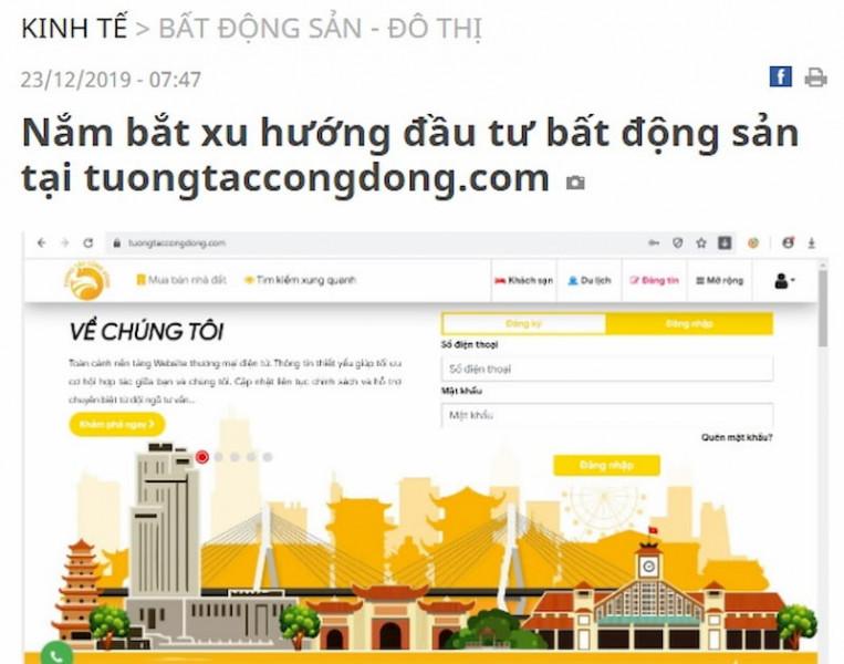 Báo Cần Thơ đánh giá cao tính tiên phong tuongtaccongdong.com trong lĩnh vực bất động sản